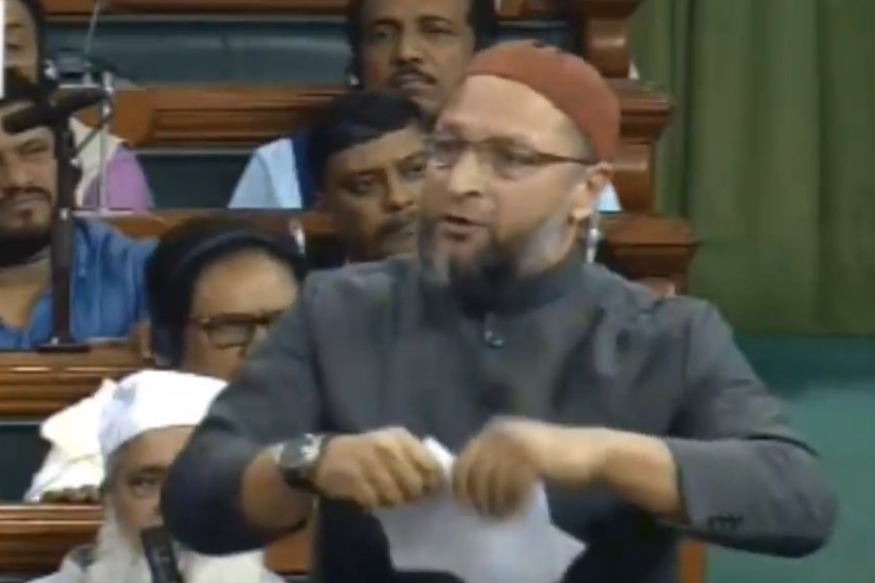 Asaduddin Owaisi tears a copy of citizenship bill in the LS Session