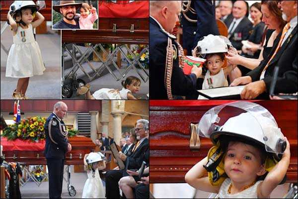 Andrew ODwyer 20 Month Old Daughter Wears His Helmet At His Funeral