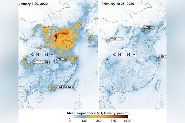 Stunning NASA images show drop in pollution over China amid coronavirus outbreak