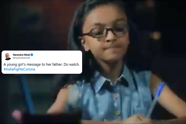 PM Modi tweets video of young girl message to father on coronavirus