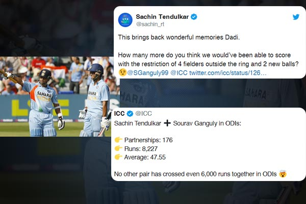 Sachin mocks new rules after ICC shares his impressive partnership record with Ganguly