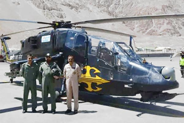 Two light combat helicopters developed by HAL deployed in Ladakh for high altitude IAF operations