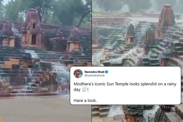 PM Modi shares video of Sun Temple in Gujarat Modhera says it looks iconic on a rainy day