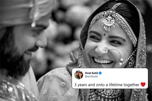 Virat congratulates Anushka on completing 3 years of marriage