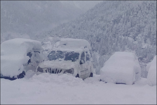 Roads Jammed Due To Heavy Snowfall In Japan