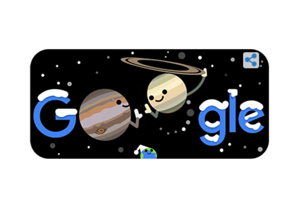 Google Showcased Winter Solstice Great Conjunction Through Its Doodle Make It With Nasa Help Saturn