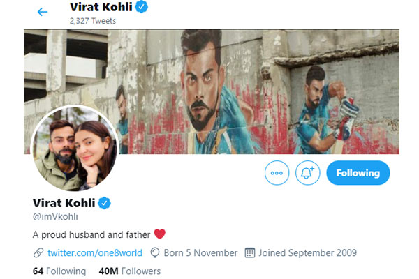 Kohli changed Twitter bio, wrote this for wife and daughter