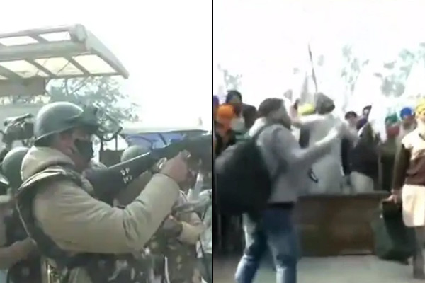 Stoned At Singhu Border Farmers Police Lathi Charge Tear Gas Shells