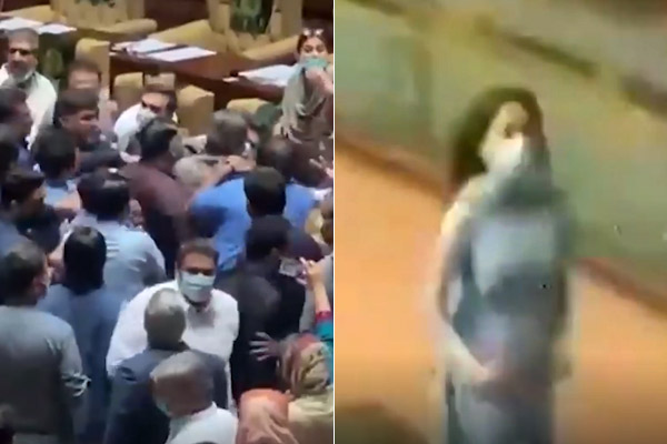 Uproar and violence in Sindh assembly, female MLA seen running away after saving her life, video vir