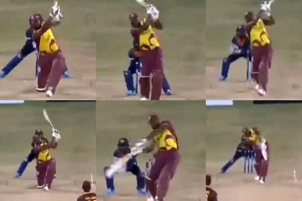 Kieron Pollard smacks six sixes in an over against Akila Dananjaya in the first T20I