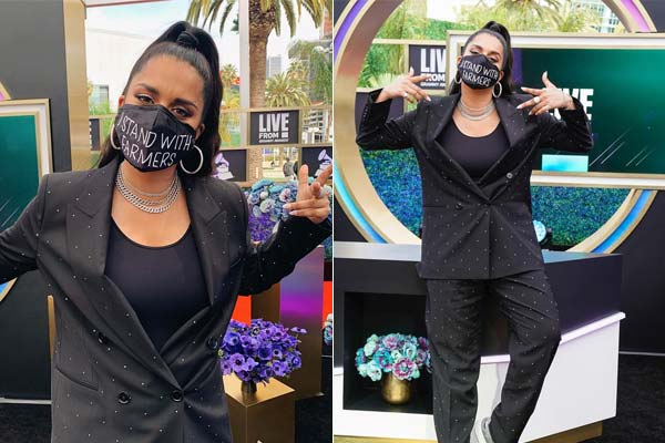 YouTuber Lilly Singh wore a mask in farmers support at Grammy Awards 2021