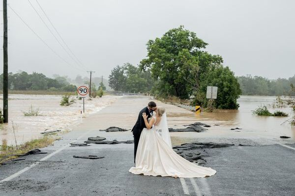 Pregnant bride caught in NSW floodwaters