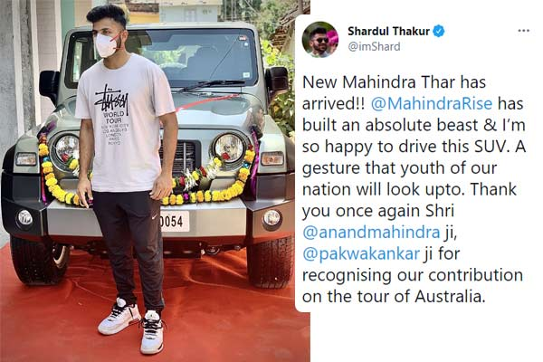 Shardul Thakur thanks Anand Mahindra after receiving brand new Thar SUV
