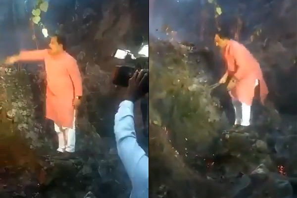 Uttarakhand minister douses forest fire with bush