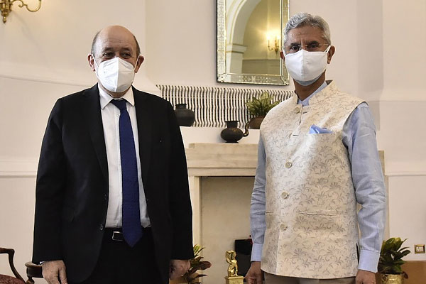 French Foreign Minister Jean-Lees Leeds arrives in New Delhi on a five-day visit to India