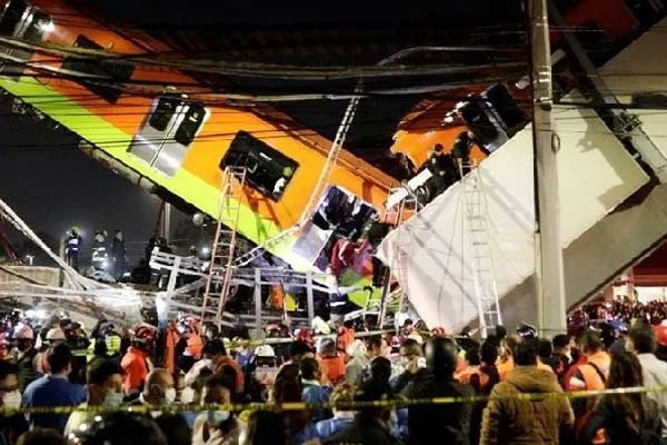 Mexico City Subway Plunges from Overpass Killing 15